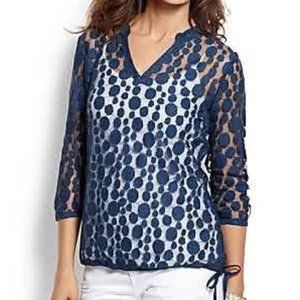 Tommy Bahama Lace Dot Overlay Top Blouse sz S